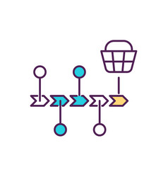 Customer journey mapping rgb color icon vector