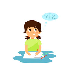 cute girl thinking while writing in her notebook vector image
