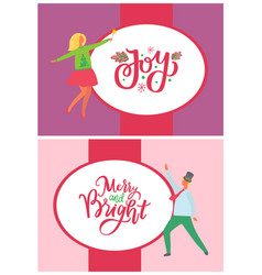 dancing man woman in green sweater with fir trees vector image