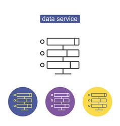 data storage with files line icon vector image