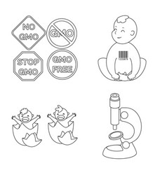 design genetic and science icon set of vector image