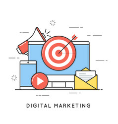 digital marketing internet advertising vector image