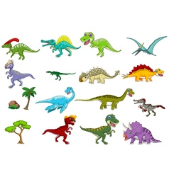 dinosaur cartoon set vector image