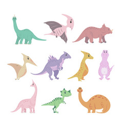 dinosaurs colored set vector image
