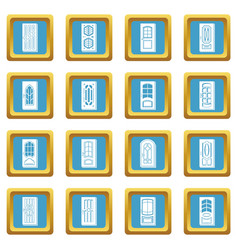 door icons set sapphirine square vector image