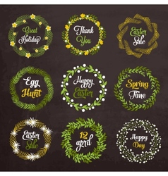 Easter wreaths with plants and flowers on vector image vector image