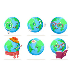 ecology happy emotion nature earth globe vector image
