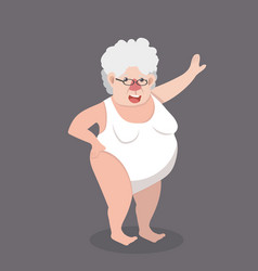 Elderly woman of a sexy girl wearing swim suit vector