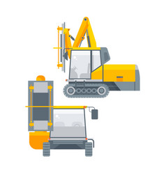 Equipment for tunnels side view and front view vector