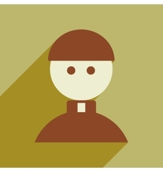 Flat web icon with long shadow Priest vector