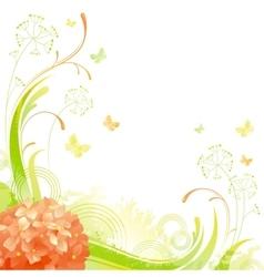 Floral summer background with orange hydrangea vector image