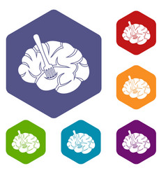 fork is inserted into the brain icons set hexagon vector image