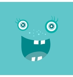 Funny smiling monster smile bacteria character vector