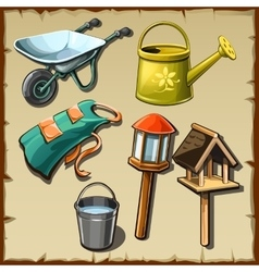 Garden tools and decorations on the plot big set vector