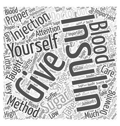 Giving yourself an Insulin Injection Word Cloud vector