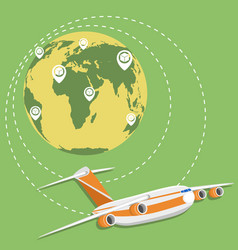 global network of commercial air cargo trucking vector image