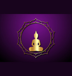 Gold round buddha silhouette in lotus position r vector