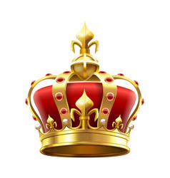 Golden royal crown with jewels heraldic elements vector