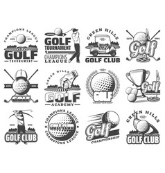 golf sport game icons and symbols vector image