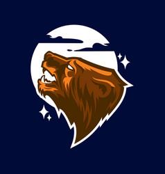 grizzly bear head logo vector image