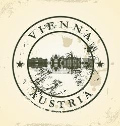 Grunge rubber stamp with Vienna Austria vector