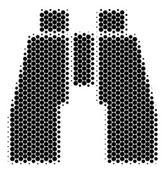 halftone dot find binoculars icon vector image