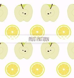 Hand drawn apple and lemon Seamless pattern vector