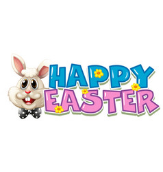 Happy easter poster with white bunny vector