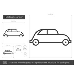 Hatchback car line icon vector