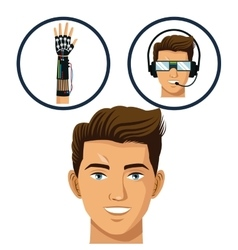 head gamer think glasses and wired glove virtual vector image