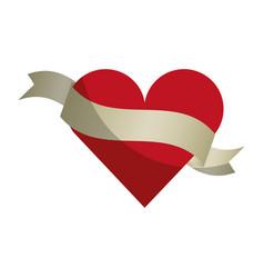 Heart love with ribbon romantic icon vector