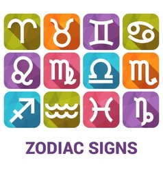 Icon set of Zodiac Signs in flat style vector