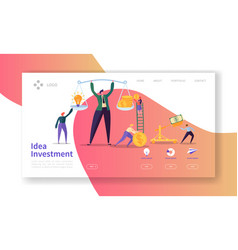 Innovation investment landing page invest in idea vector
