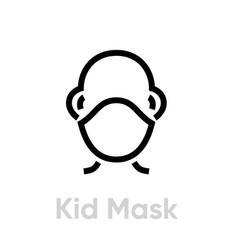 kid protection mask respirator icon editable line vector image