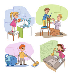 Kids helper character housekeeping scenes set vector