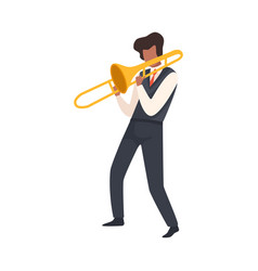Man playing trombone male jazz musician character vector