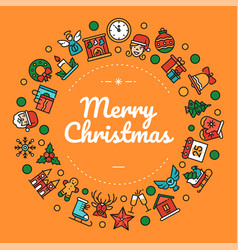 merry christmas colorful social media banner vector image