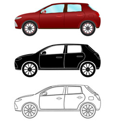 Modern hatchback car in three different types vector
