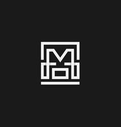 monogram hm logo in a modern line style vector image
