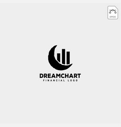 Moon dream chart statistic logo template isolated vector