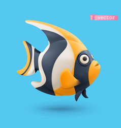 Moorish idol angelfish 3d realistic icon funny vector
