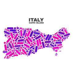 Mosaic capri island map of dots and lines vector
