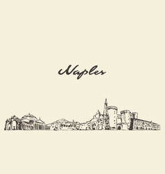 naples skyline italy city drawn sketch vector image