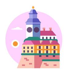 Novi sad clock tower icon in flat vector