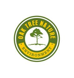 Oak tree nature vintage emblem logo design vector