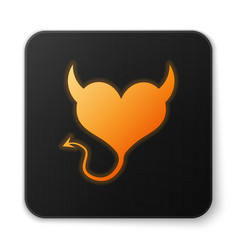 Orange glowing devil heart with horns and a tail vector