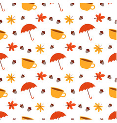 pattern with cup and umbrella vector image