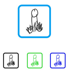 penis sketch framed icon vector image
