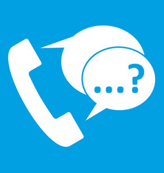 Phone sign and support speech bubbles icon white vector