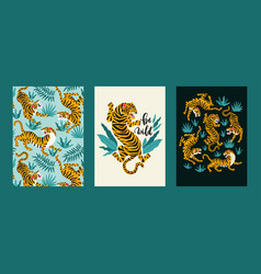 poster set of tigers and tropical leaves vector image